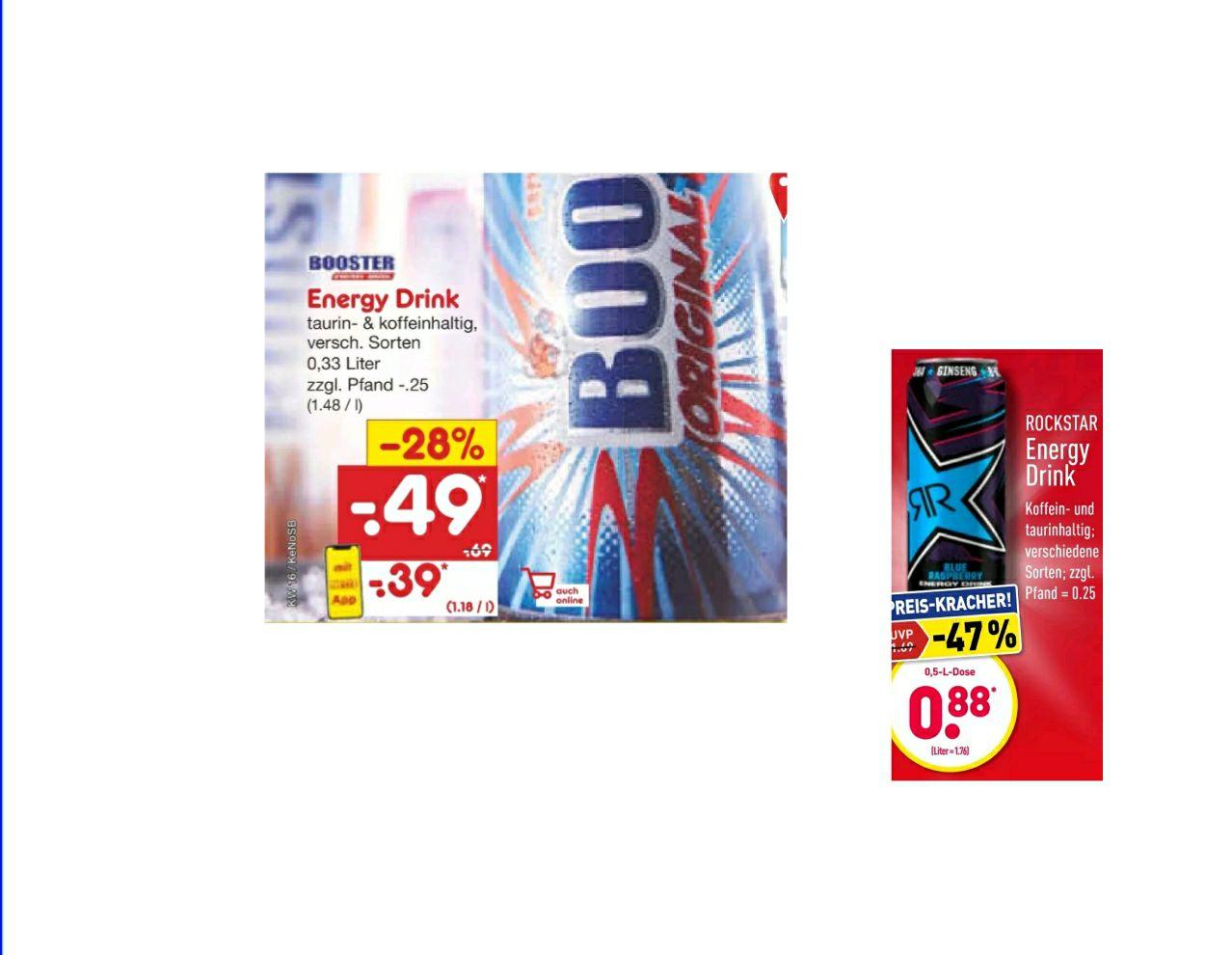 Energy Drink Angebote vom 19.04 - 24.04 z.B. Booster Energy Drink für 0.39€ + 0.25€