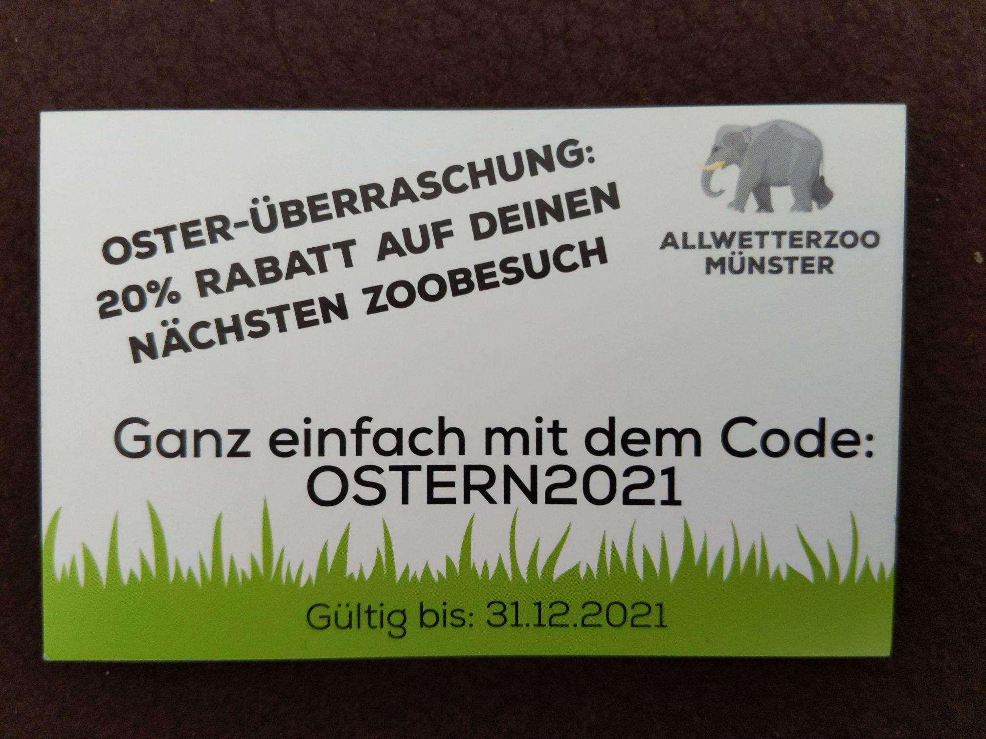 20% Rabatt auf den nächsten Zoo-Besuch (Allwetterzoo in Münster)