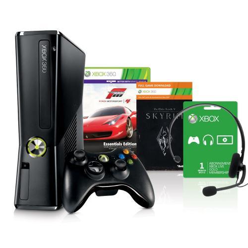 X-Box360 mit 250GB + Skyrim + Forza 4 + Wireless Controller + 1 Monat XBLive Gold + Headset im Amazon WHD