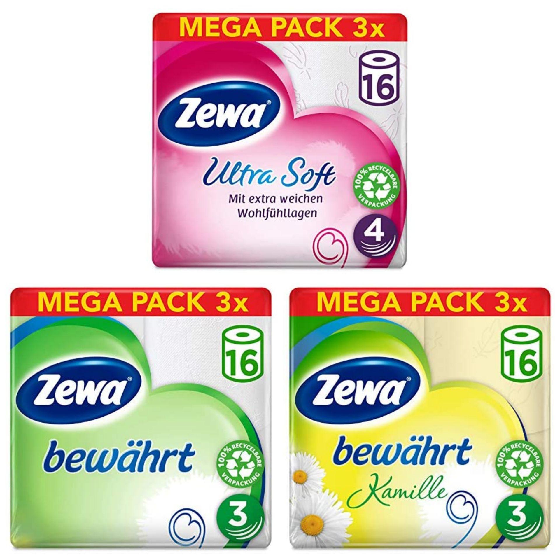 Zewa Toilettenpapier verschiedene, z.B 3-lagig für 9,43€, 4-lagig für 12,18€ 48 Rollen, 3 x 16 Stück à 150 Blatt - Prime*Sparabo*