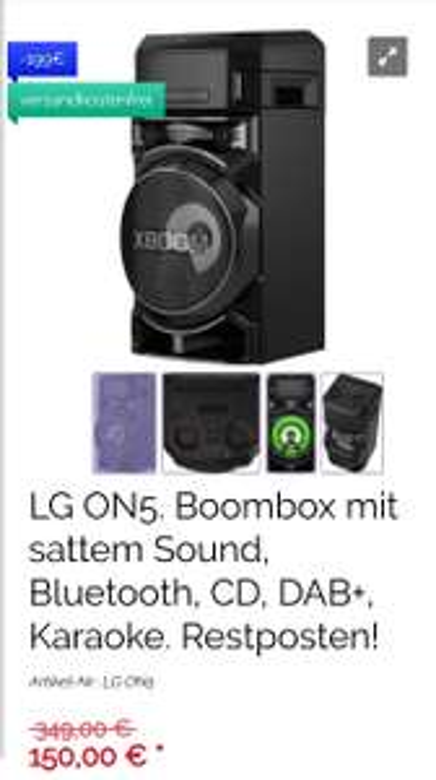 LG ON5. Boombox mit sattem Sound, Bluetooth, CD, DAB+, Karaoke
