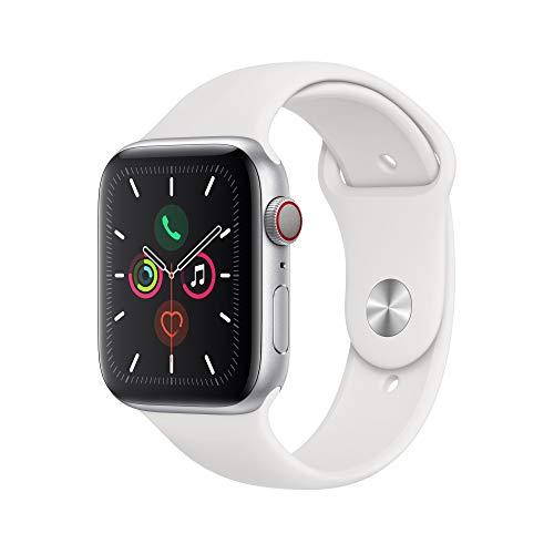 Amazon Warehouse / Apple Watch Series 5 (GPS + Cellular, 44 mm) Aluminiumgehäuse Silber - Sportarmband Weiß