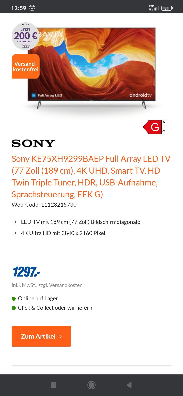 SonyKE75XH9299BAEP Tv