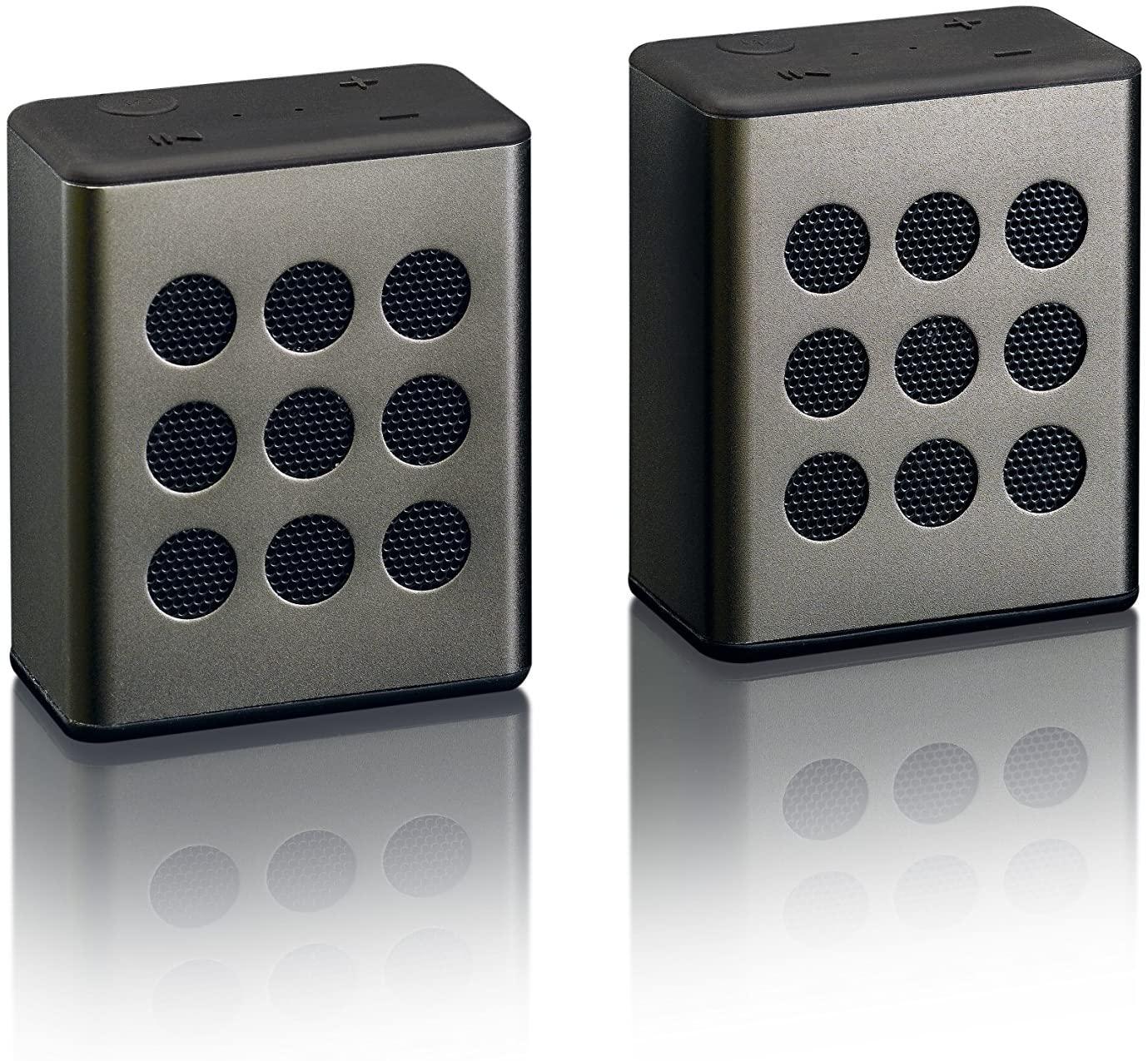 Lenco BTP-200 Bluetooth-Lautsprecher Stereo-Set (2x 2.5W, ~8h Akkulaufzeit, AUX-In, Mikrofon)