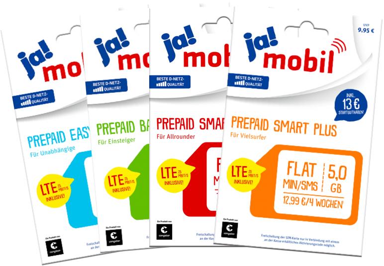 ja!mobil Prepaid Karte Start Paket 1/2 Preis (Payback mit Gewinn) (offline und online) (Telekom über Congstar) [REWE] [19. - 25.04.]