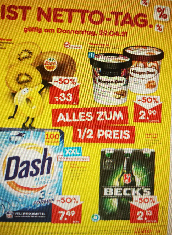 Netto-Markendiscount Beck's Pils oder Gold 6x0,33 für 2,13€, Häagen Dazs für 2,99€