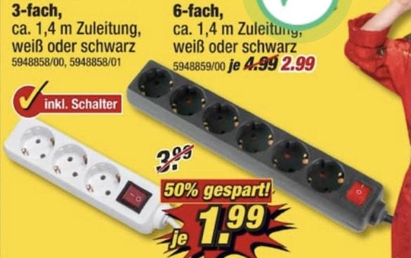 [poco] Steckdosenleiste 3-fach/6-fach weiß oder schwarz mit Schalter