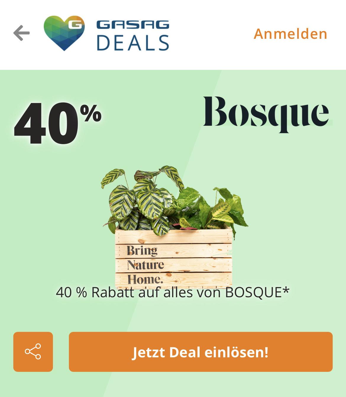 [Lokal Berlin   Hamburg] 40% Rabatt auf Bosque Pflanzen über GASAG Newsletter