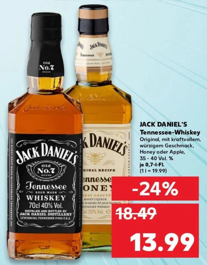 [Kaufland Paderborn] Jack Daniel's Tennessee-Whiskey Original, Honig oder Apfel je 0,7l Flasche