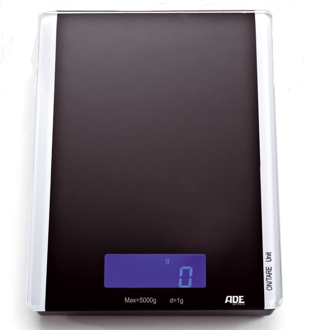 ADE Annica Digitale Küchenwaage (Höchstlast 5kg, Einteilung 1g, Tara-Funktion, Glasfläche, blau beleuchtetes Display, AAA-Batterie)