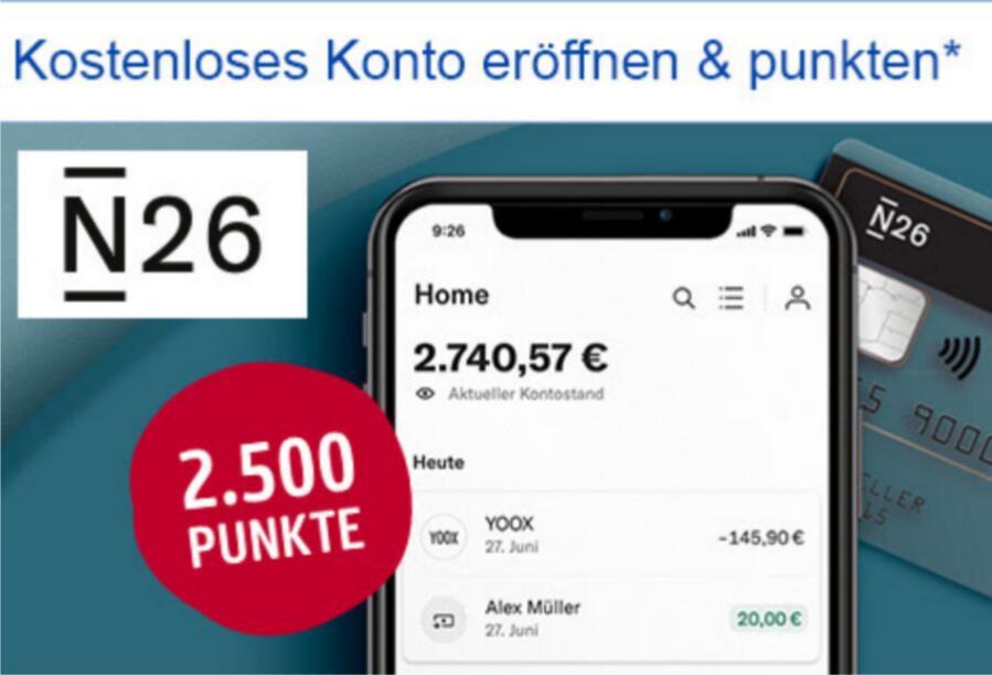 [Payback] 2500 Punkte (25€) bei Eröffnung von N26 Konto (gebührenfrei · Debit Mastercard)