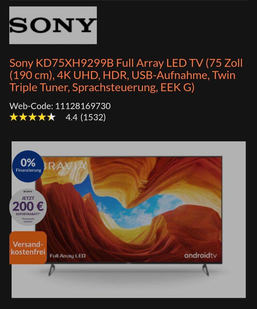 Expert TechnoLand Sony KD75XH9299B 75 Zoll Fernseher