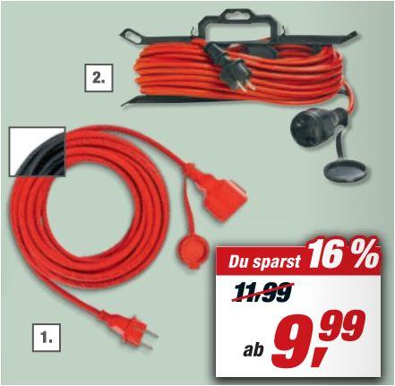 Gummi-Verlängerungskabel IP 44 in verschiedenen Ausführungen, z.B. 25 m (rot oder schwarz) für 19,99 Euro [Toom Filialpreis]