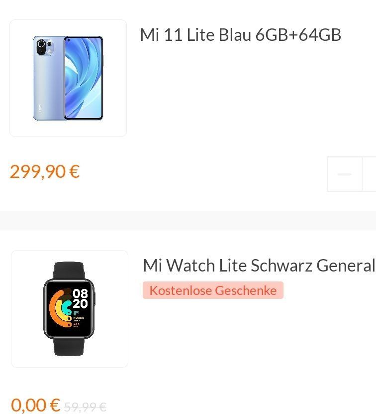 "Xiaomi Mi 11 Lite 64 GB Bundle + Mi Watch Lite (6,55"" FHD+ AMOLED 90 Hz, 157g, SD732G, NFC, Dual-SIM, 4.250 mAh, 33W)"