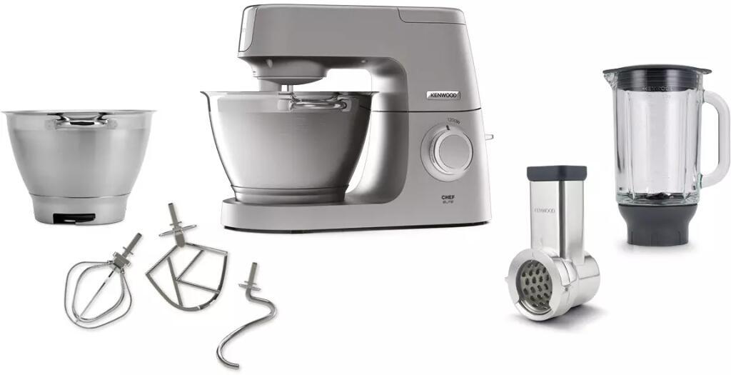 KENWOOD KVC 5391 S Chef Elite Küchenmaschine inkl. 6 Zubehörteile (Rührschüsselkapazität: 4,6 Liter, 1200 Watt) [MediaMarkt]