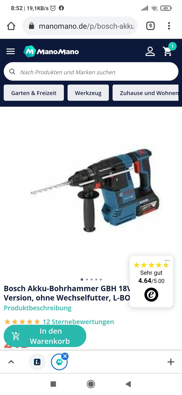 Bosch GBH 18V-26 Professional ohne Akku mit L-Boxx