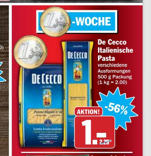 HIT Markt: De Cecco Nudeln Pasta - versch. Sorten