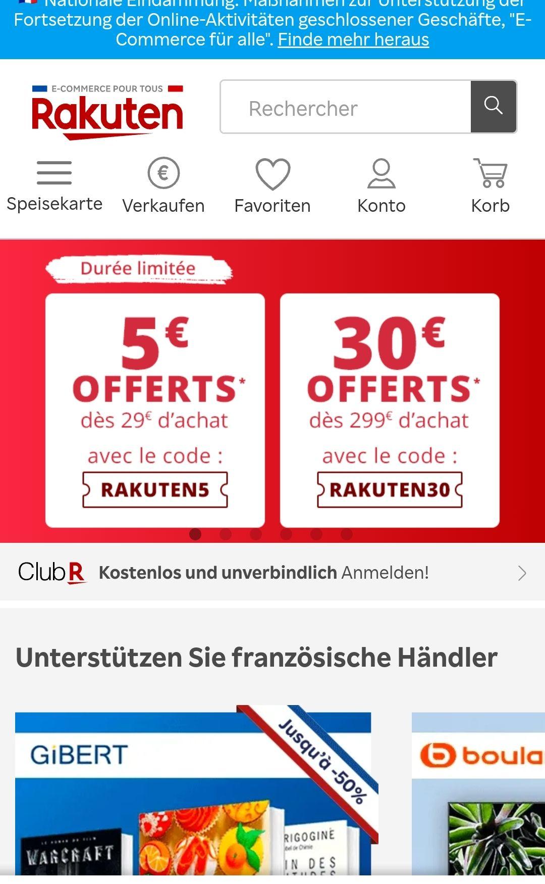 Rakuten 30 € Gutschein für Hightech ab 299€