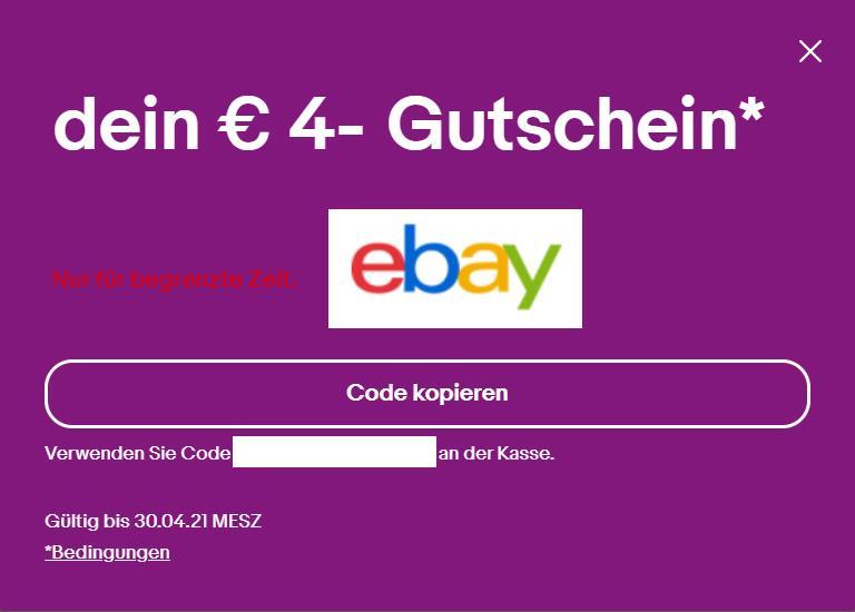 [Personalisiert] 4€ ebay Gutschein gültig bis zum 30.04.21