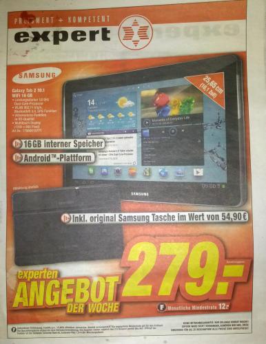 Lokal Expert Burgdorf / Lehrte: Samsung Galaxy Tab 2 10.1 Wifi 16GB inkl. originale Samsung Tasche im Wert von 54
