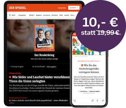 Spiegel+ Abo 3 Monate für 30 € (statt 60 €) inkl. PDF-Ausgabe