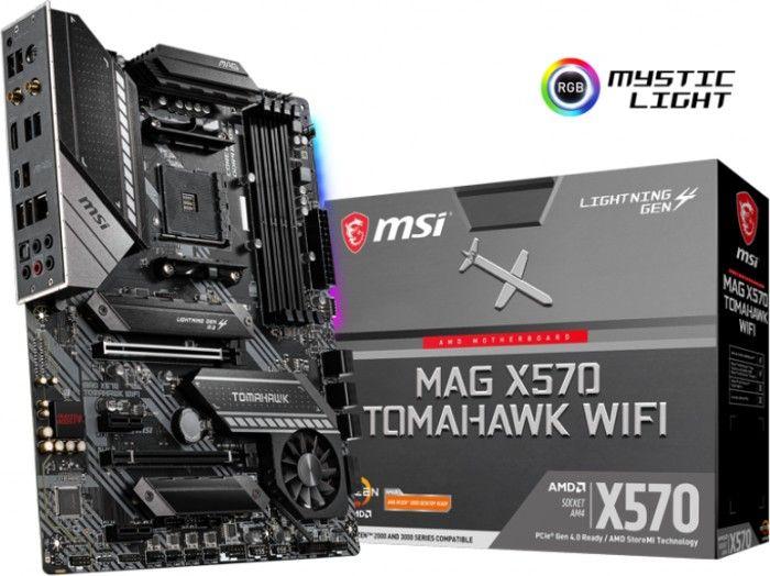 MSI MAG X570 Tomahawk WIFI (AM4, Ryzen 5000, bis DDR4-4600, 2x PCIe 4.0 x16, RGB, 7.1 Audio, WiFi 6, 2x M.2)