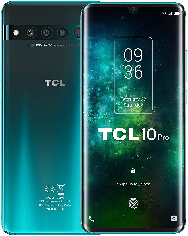 "TCL 10 Pro 6,47"" FHD+ AMOLED Dual-SIM Smartphone 6/128GB (Snapdragon 675, 215K AnTuTu, 4.500 mAh, 64 MP Quad-Cam, NFC, USB-C, aptX HD)"