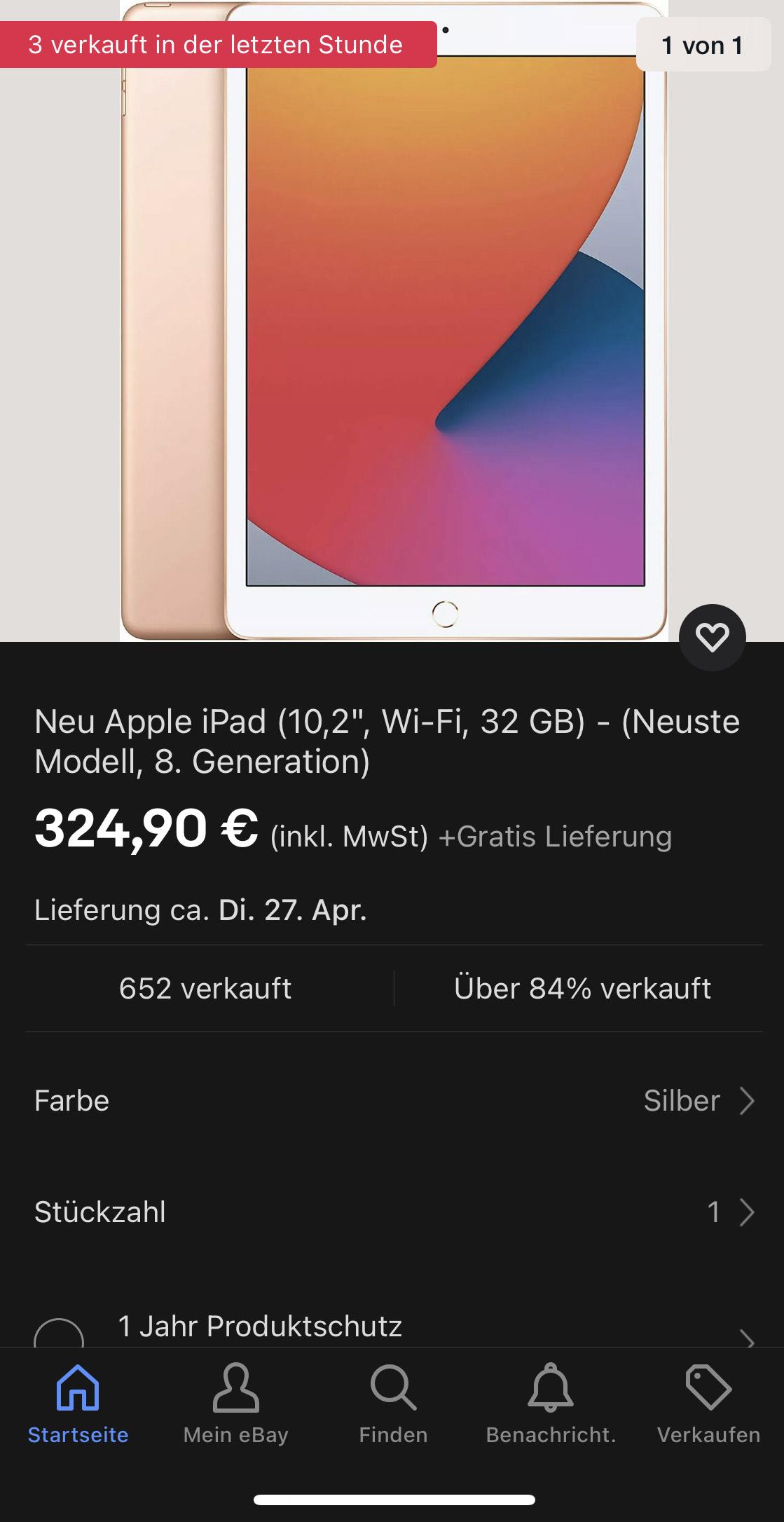 Apple iPad 8. Generation 32Gb Grau