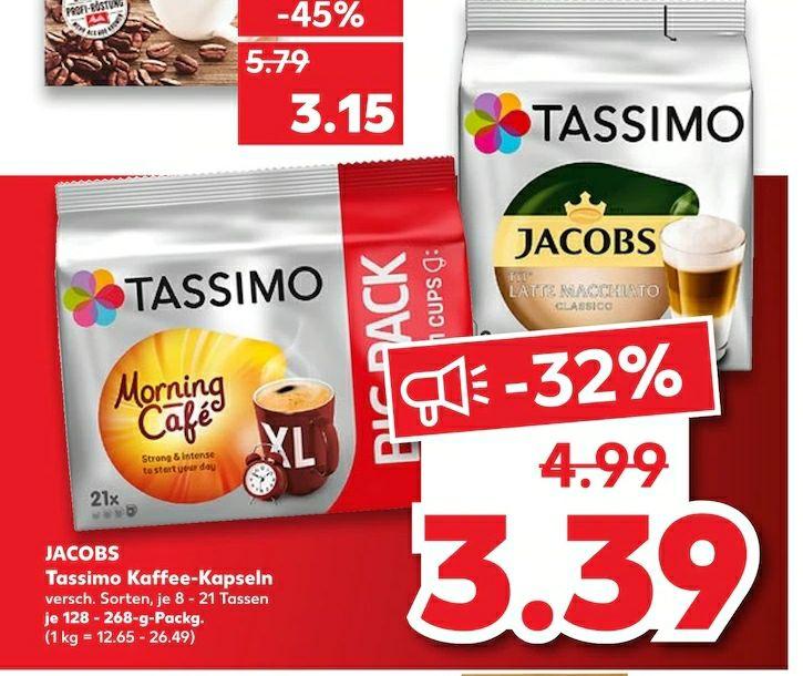 Tassimo Kaffeekapseln verschiedener Sorten je 3,39€ [lokal]