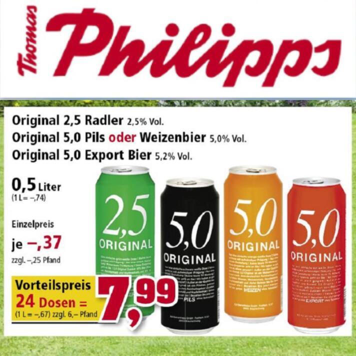 5,0 ORIGINAL Dosenbier (Export, Pils, Weizen, Radler) 24 Stk. á 33,3 Cent/Dose