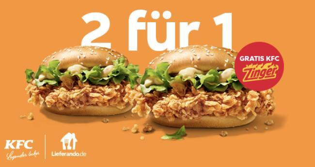 KFC x Lieferando: Zinger Burger: Bestell 1 und erhalte 1 gratis dazu