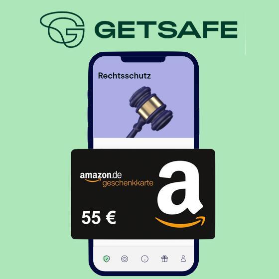 55€ Amazon Gutschein zur getsafe Rechtsschutzversicherung für Neukunden (eff. 3 Monate kostenlos)
