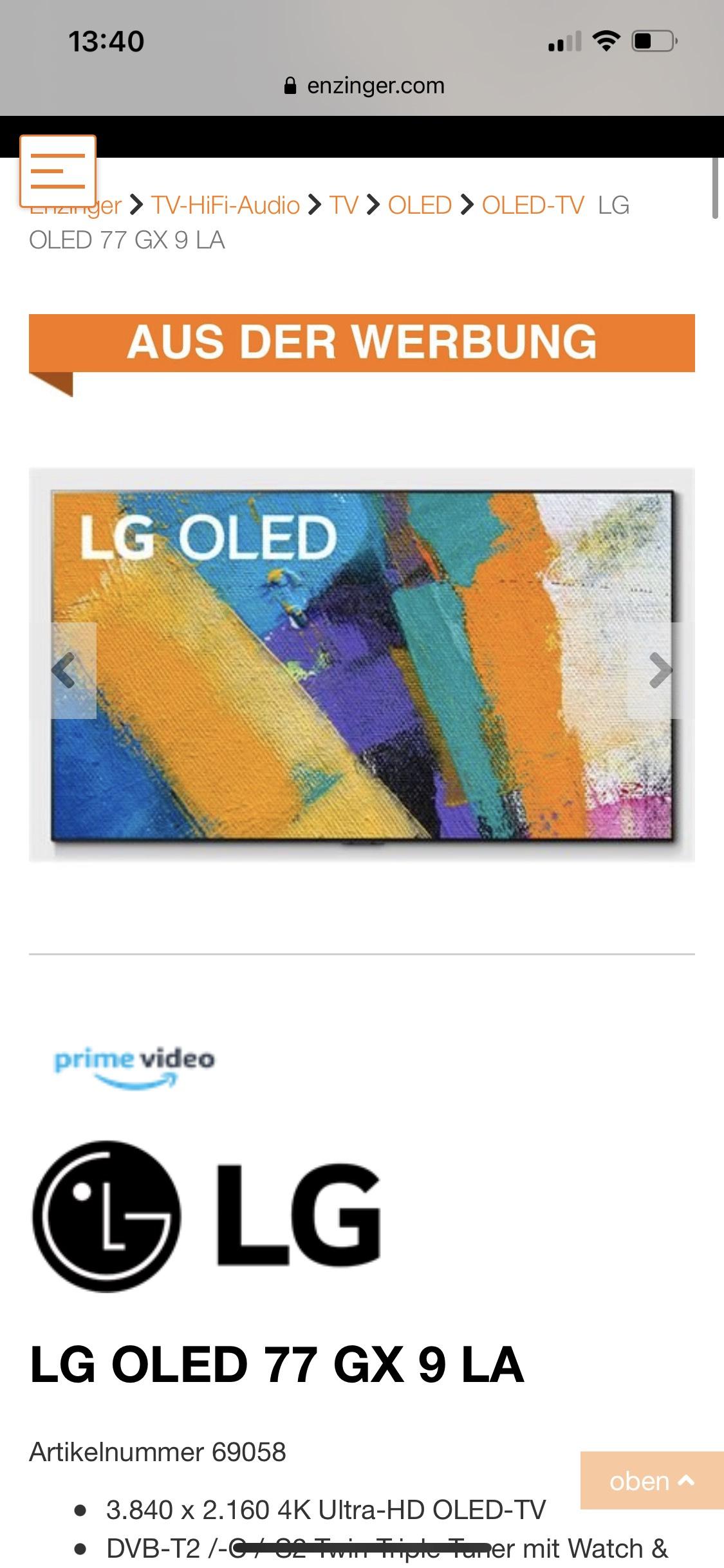 LG OLED 77 GX 9 LA - Gallery Design OLED