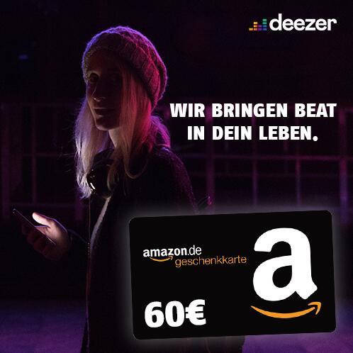 24 Monate Deezer Premium für eff. 4,99€ / Monat durch 60€ Amazon Gutschein (mtl. 4,99€ im 1. Jahr, mtl. 9,99€ im 2. Jahr)