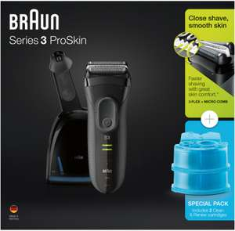 Braun Series 3 ProSkin 3050cc inkl. Reinigungs-/Ladestation & 2x CCR2 Kartuschen (Nass-/Trockenrasur, NiMH-Akku bis ~45min)