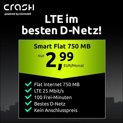 [Telekom-Netz] 750MB LTE (25 Mbit/s) Crash Tarif + 100 Freiminuten für mtl. 2,99€ & ohne Anschlusspreis, mit VoLTE, WLAN Call