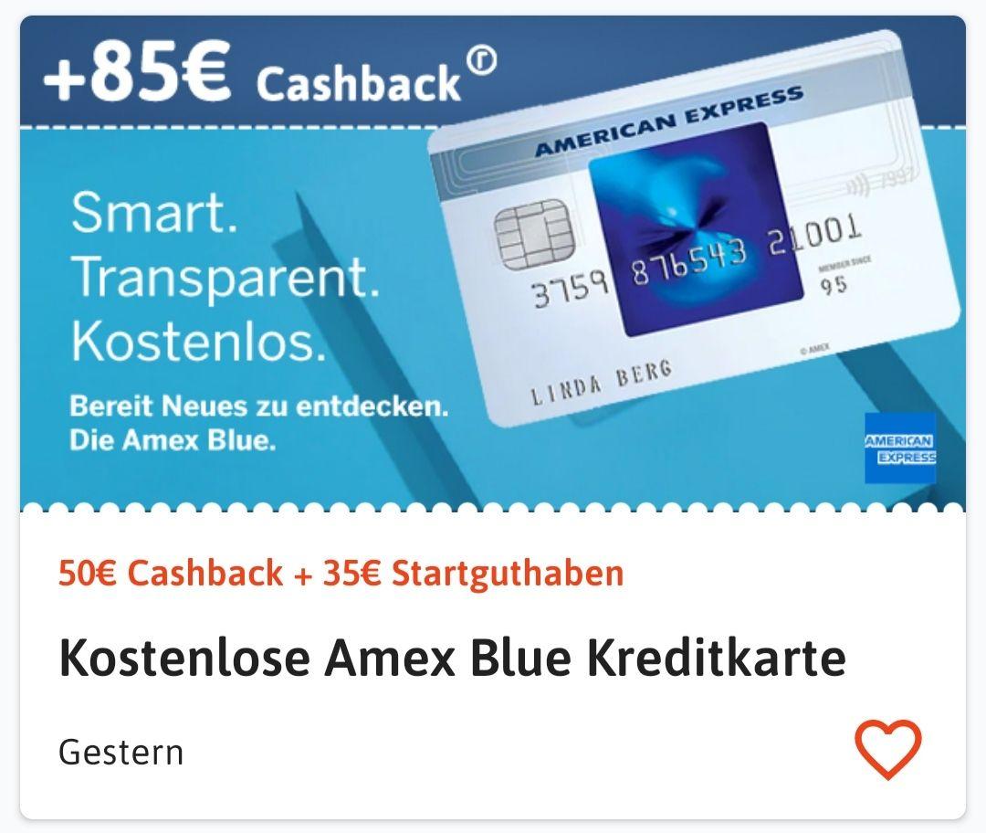 Amex Blue Kreditkarte mit 85€ Bonus (50€ Cashback+35€ Startguthaben)