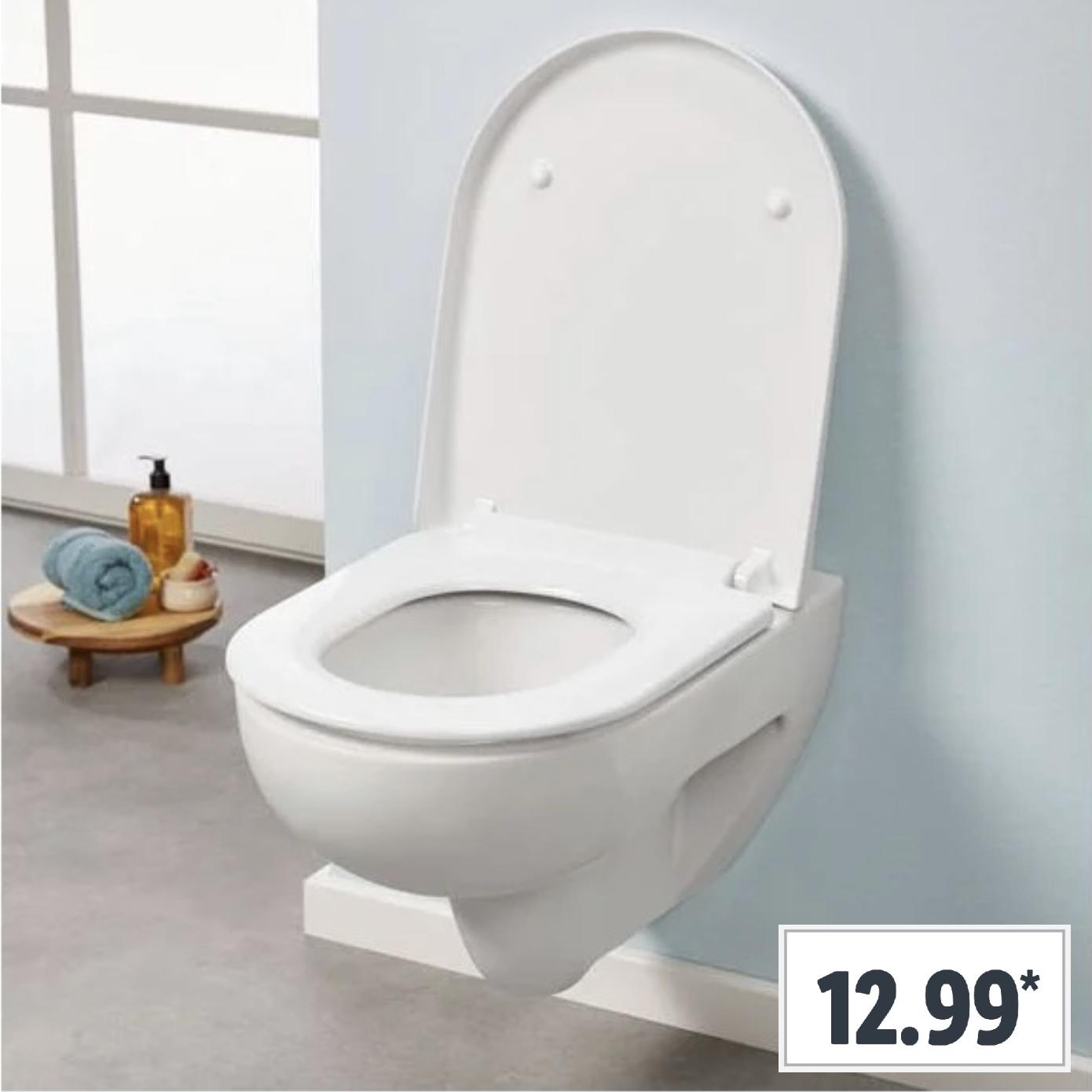 MIOMARE WC-Sitz mit geräuschloser Absenkautomatik moderne D-Form oder Oval mit Edelstahlscharnieren u. Quick-Release-Funktion für 12,99€