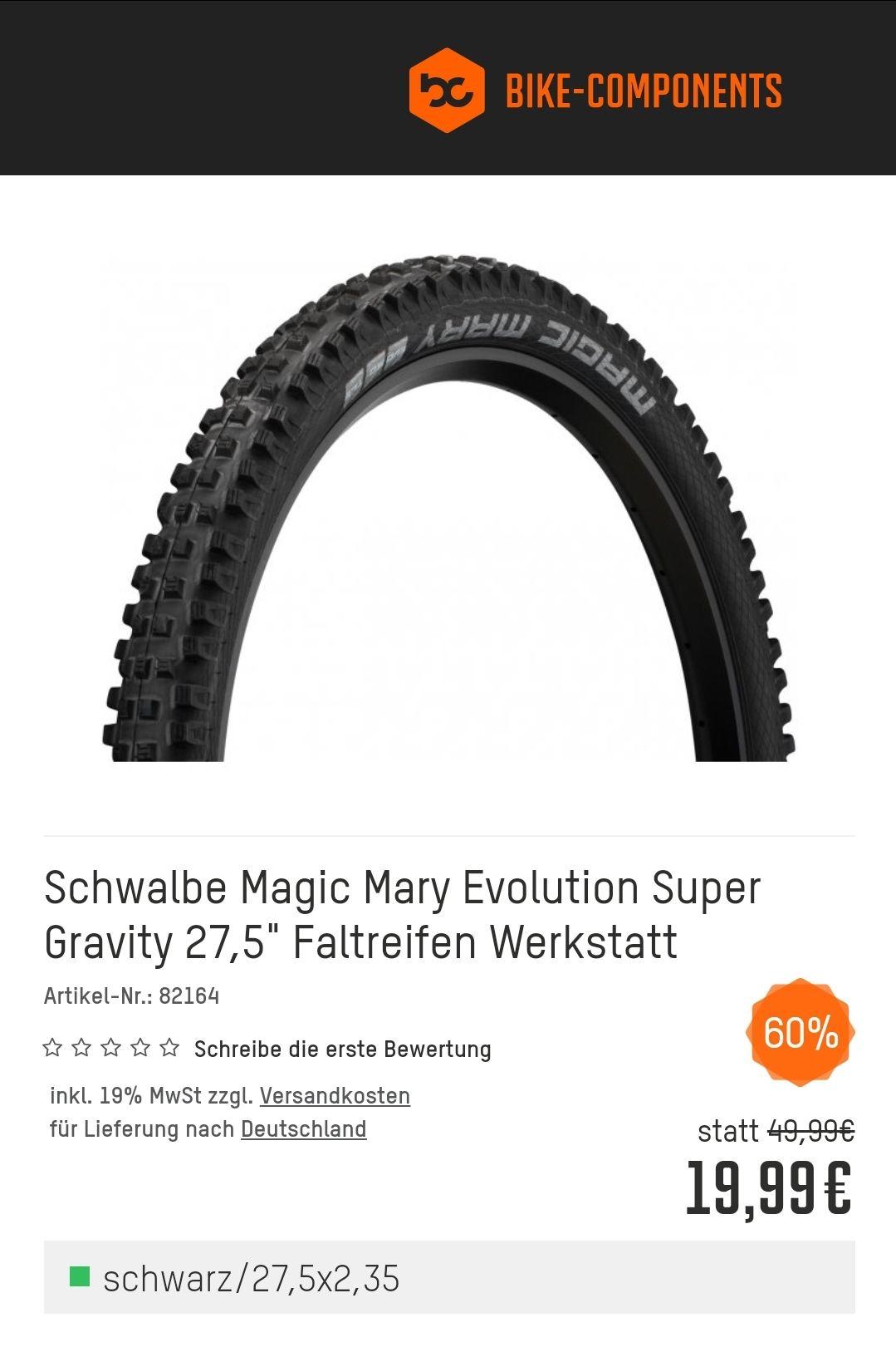 """SchwalbeMagic Mary Evolution Super Gravity 27,5"""" Faltreifen Ohne Verpackung (Werkstatt)"""
