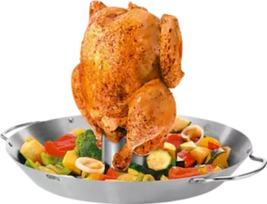 GEFU Hähnchenbratgestell | Gemüsewok [Edelstahl] für Grill | Ofen