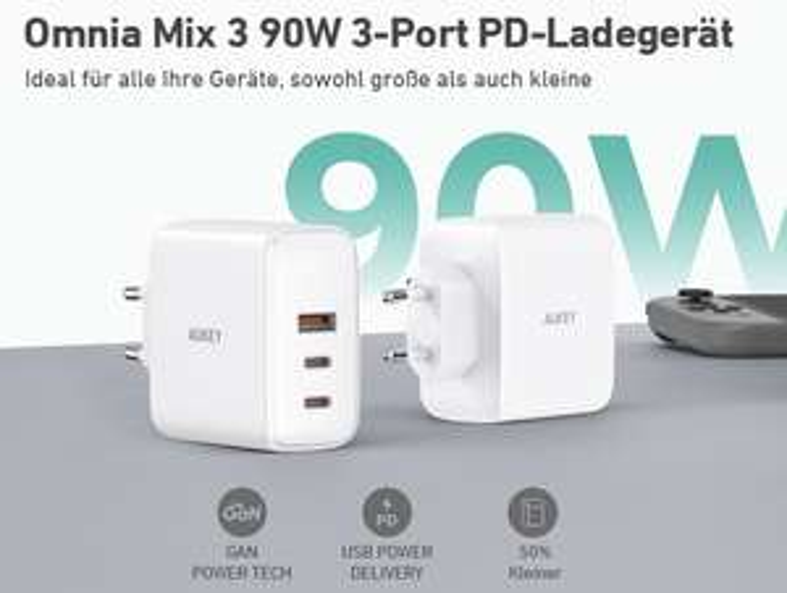 AUKEY Omnia 90W USB C Ladegerät 3-Port mit GaNFast-Technologie PD-Ladegerät für 38,39€ inkl. Versandkosten