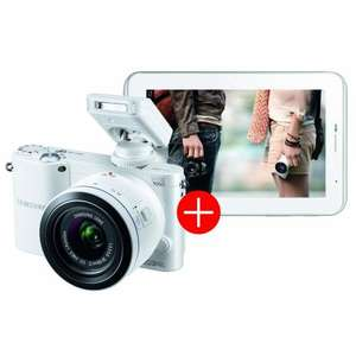 Samsung NX1000 Systemkamera (20 Megapixel, 7,6 cm (3 Zoll) Display) inkl. 20-50mm F3.5-5.6 ED II Objektiv weiß mit Tab 2 7.0 weiß  Auch als schwarzes Set zum selben Preis