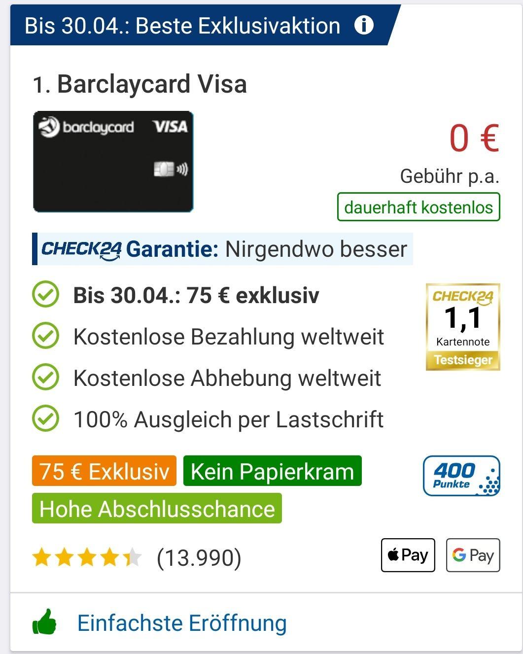 Für Neukunden: Barclaycard Visa mit 79€ Prämie (75€ Bonus plus 400 Punkte, entspr. 4€)