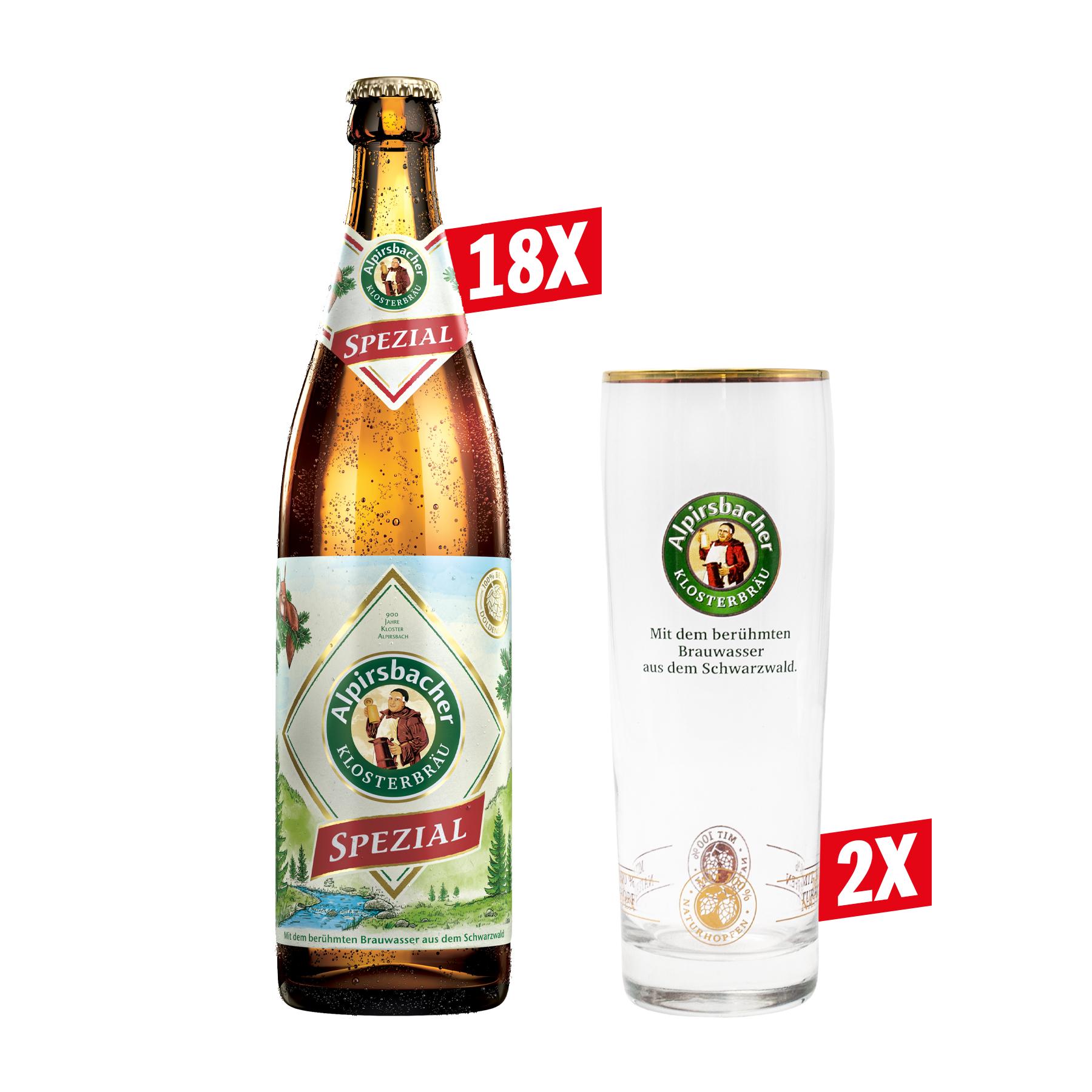 Tag des Bieres angemessen feiern: 9 Liter Alpirsbacher Spezial und zwei Gläser (1,61 €/Liter)