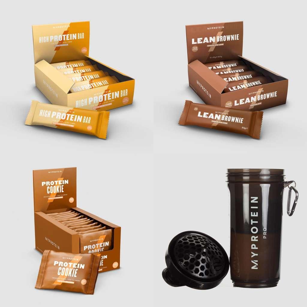 Lagerverkauf bei Myprotein: z.B. 12x 80g High Protein Bar + 12x 50g Lean Brownie + 12x 75g Protein Cookie + 400ml Pro Slim Shaker
