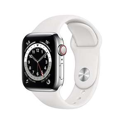 Apple Watch Series 6 40mm Edelstahl (GPS +Cellular) mit weißem Sportarmband - 0 % Finanzierung möglich