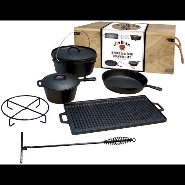 Lokal - [real Markt] Jim Beam Dutch Oven BBQ Topf-Set, Gusseisen, (9 tlg.)