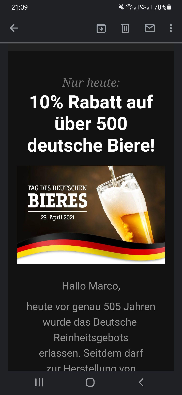 NUR HEUTE: 10% Rabatt auf alle deutschen Biere!23. April -Tag des deutschen Bieres