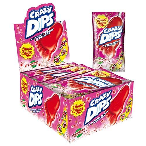 Amazon Prime: Chupa Chups Crazy Dips Erdbeer-Lollies mit Knistereffekt / Brausepulver , 24 Stück im Thekenaufsteller , je Lollie 30,33 Cent