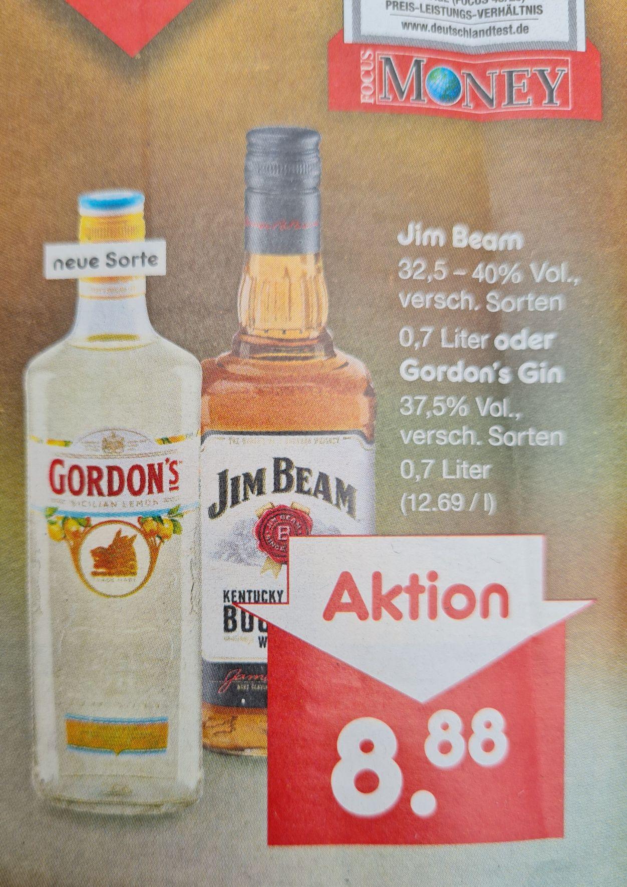 Gordon's Gin 37,5% 0,7 l ODER Jim Beam 32,5-40% 0,7 la verschiedene Sorten nur am Freitag 30.04 Netto MD